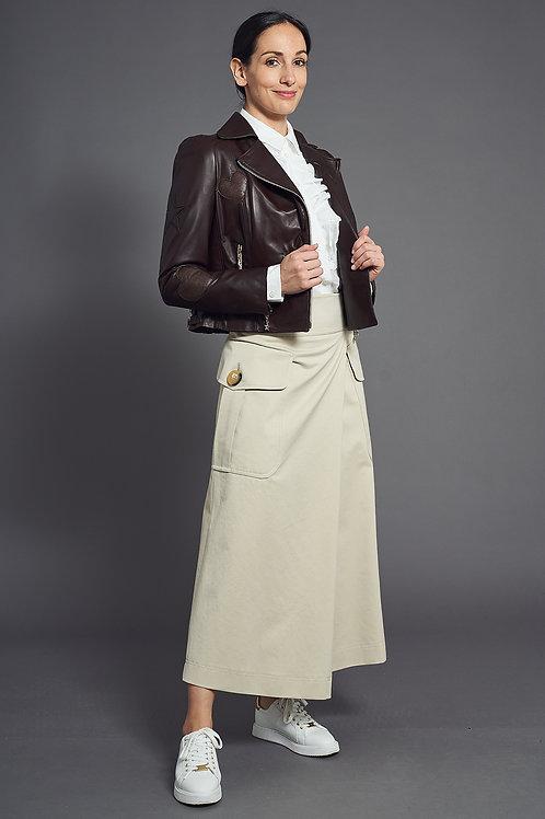 Feminine Brown Biker Leather Jacket - Maison Common