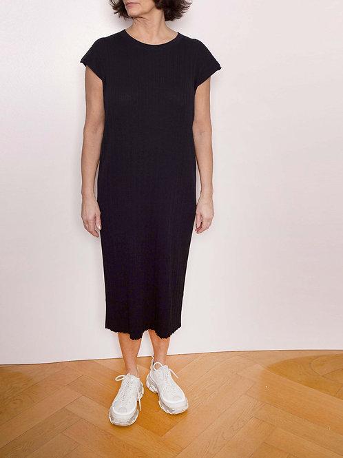Pleat Short-Sleeved Knited Dress - Sminfinity - Color Black