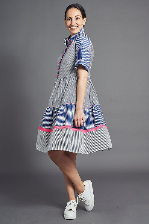 Blue Summer Dress with Stripes - Maison Common