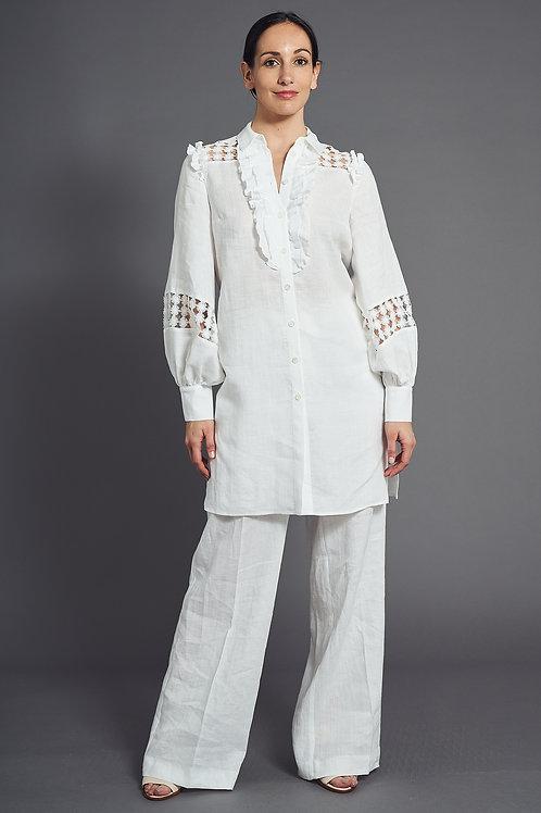 Ruffled White Linen Tunic - Maison Common
