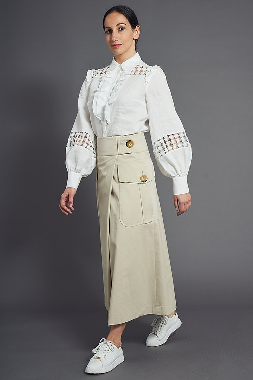 Cotton Gaucho Skirt in Color Sand - Maison Common