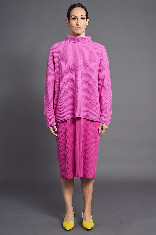 Pleat Short-Sleeved Knitted Dress - Sminfinity - Color Orchid