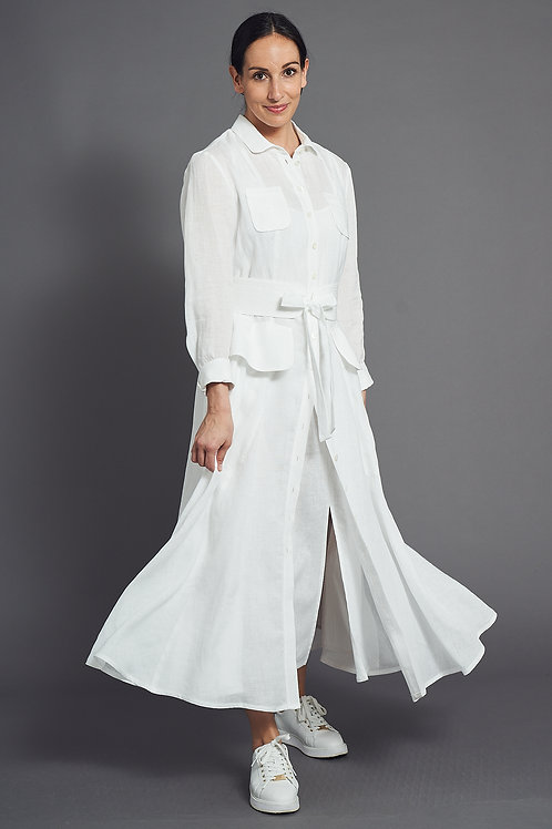 Hip Detailed Beautiful Pure Linen Shirt Dress  - Maison Common