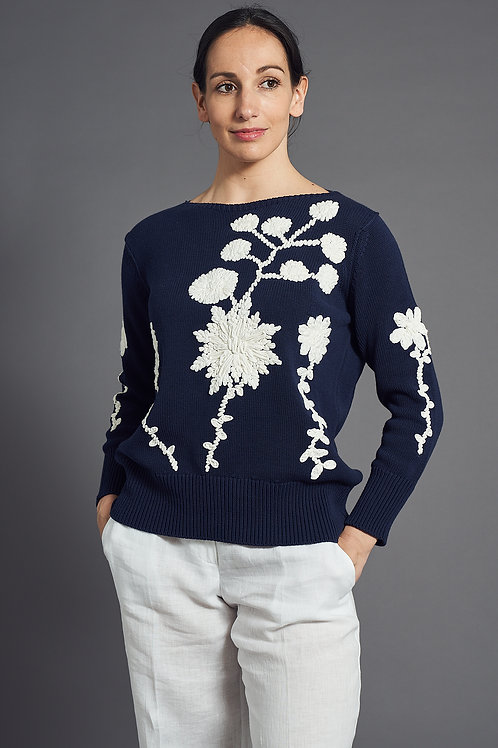 Navy - White Pullover with Embroidery - Maison Common