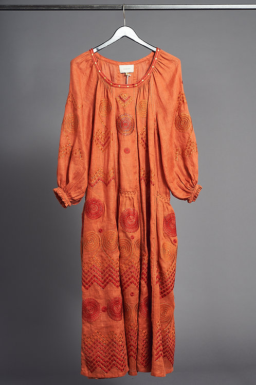 Gaia Long Dress in Orange - My Sleeping Gypsy