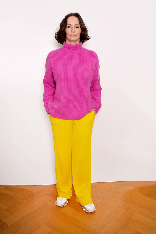 Ribbed-Knit Cashmere Sweater - Sminfinity - Color Orchid