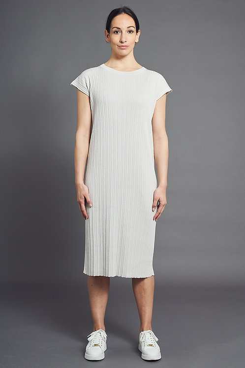 Pleat Short-Sleeved Knitted Dress - Sminfinity - Color Sand