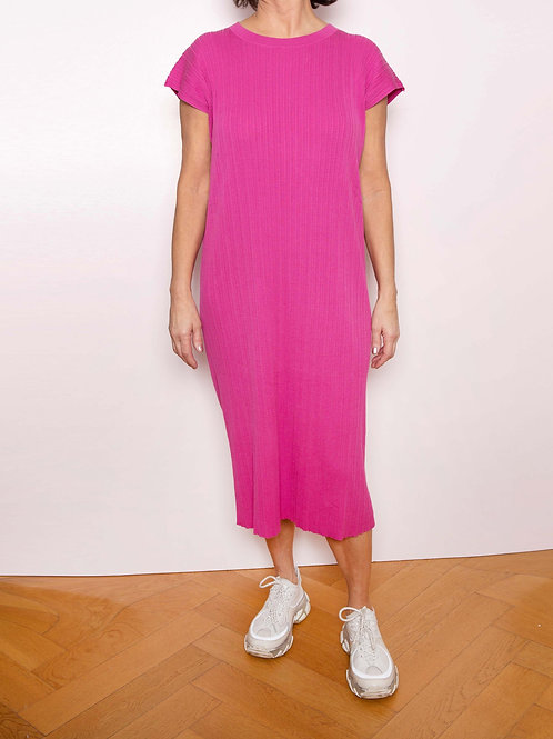 Pleat Short-Sleeved Knited Dress - Sminfinity - Color Orchid