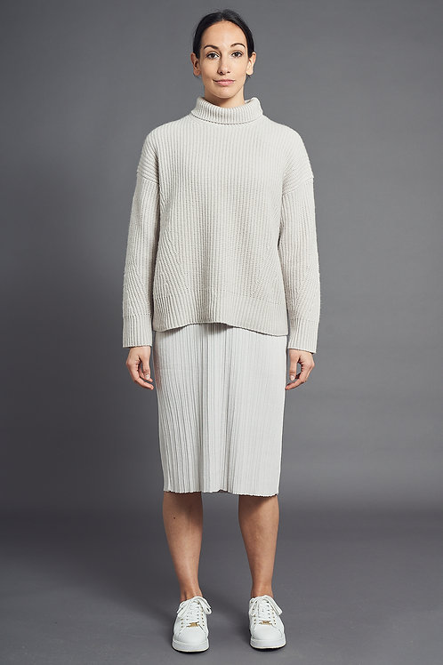 Ribbed-Knit Cashmere Sweater - Sminfinity - Color Sand