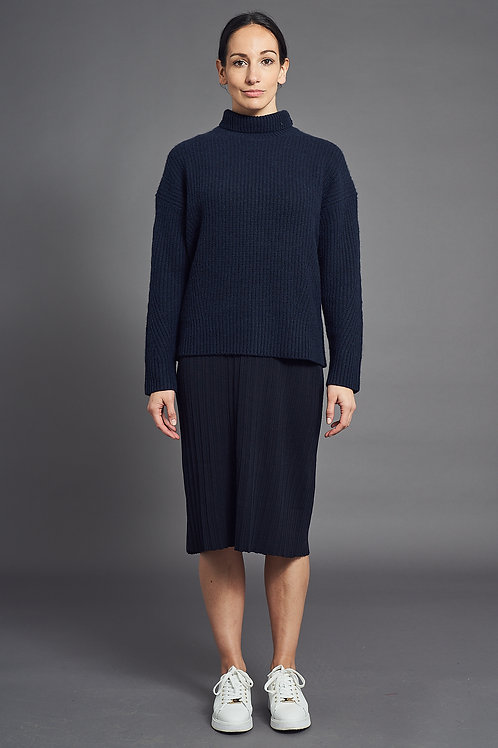 Ribbed-Knit Cashmere Sweater - Sminfinity - Color Midnight Blue