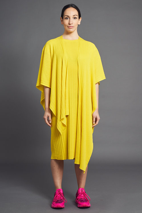 Pleat Short-Sleeved Knited Dress - Sminfinity - Color Sun