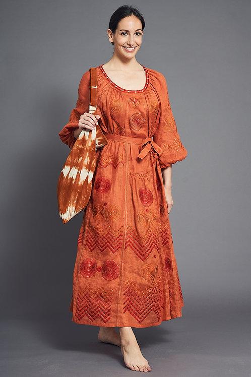Gaia Long Dress in Orange - My Sleeping Gypsy