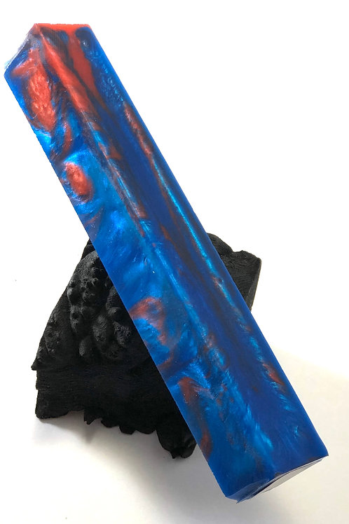 Pen Blank - Alumilite Resin with Blue, Red