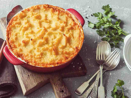 Cottage pie with mashed roots topping