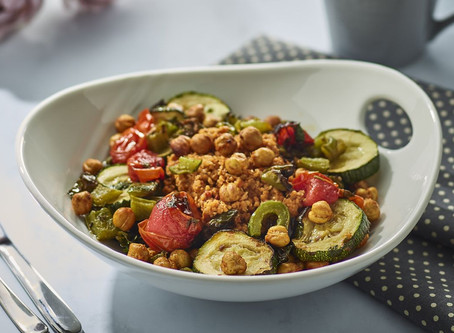 Roasted Chickpeas and Vegetables with Spicy Couscous