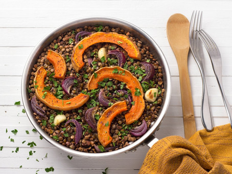 Balsamic roasted onion and butternut squash with lentils