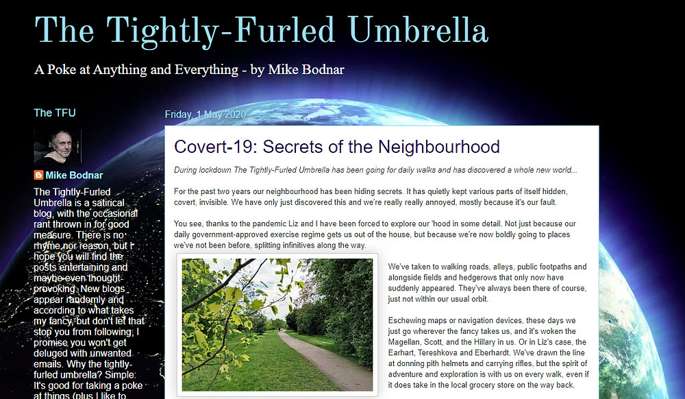 A screenshot of the home page of The Tightly-Furled Umbrella blog by Mike Bodnar