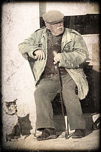 Old Frenchman and his dog