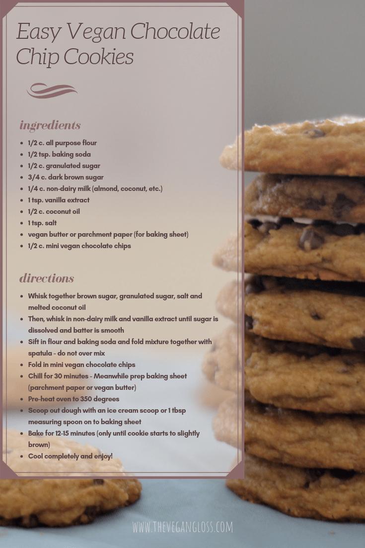 Easy Vegan Chocolate Chip Cookies recipe