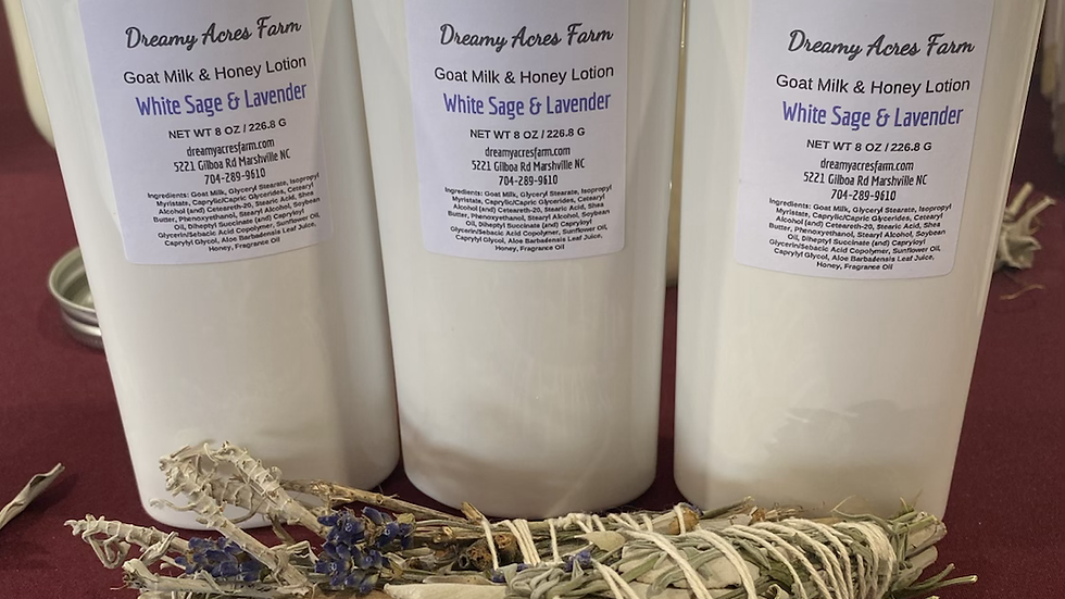 8 oz White Sage & Lavender scented Goat Milk and Honey Lotion