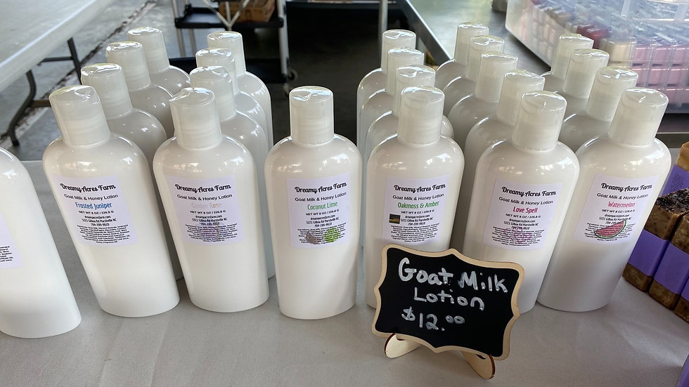 8 oz Blueberry Thyme scented Goat Milk and Honey Lotion