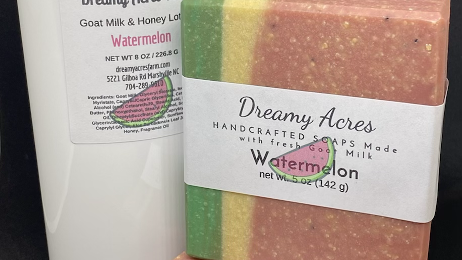 8 oz Watermelon scented Goat Milk and Honey Lotion