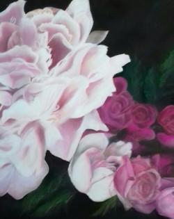 Roses et pivoine