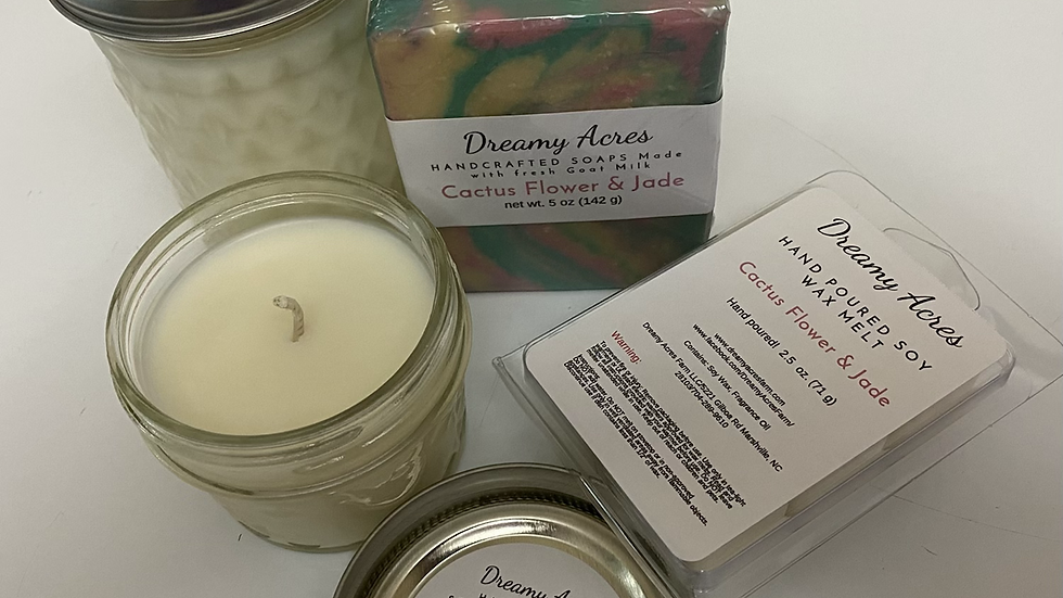 6 oz Cactus Flower and Jade scented soy candle