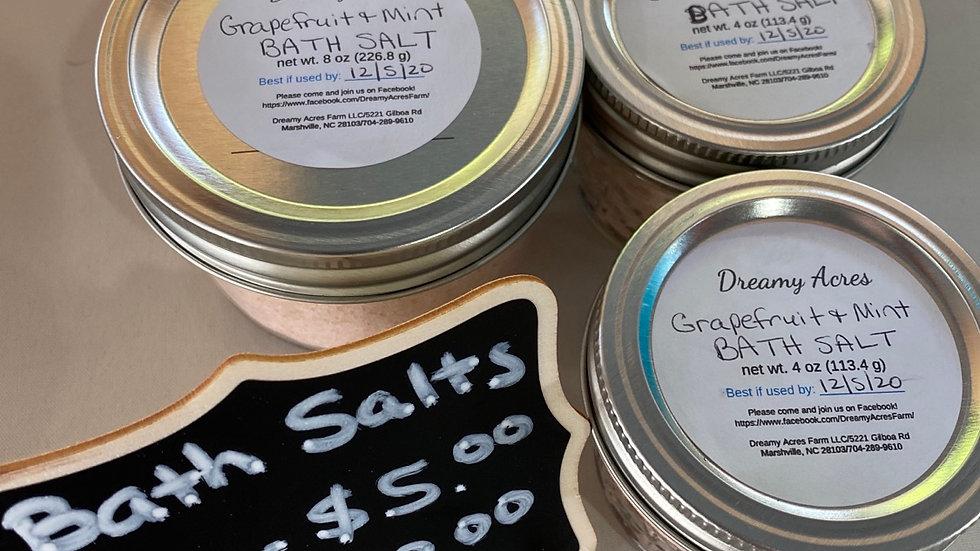 4 oz Grapefruit and Mint scented Bath Salts