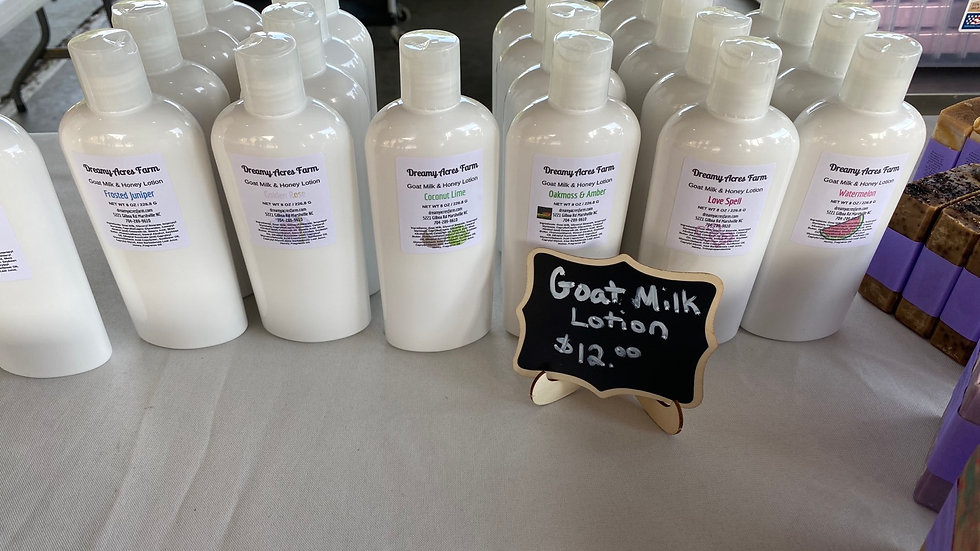 8 oz Oakmoss and Amber scented Goat Milk and Honey Lotion
