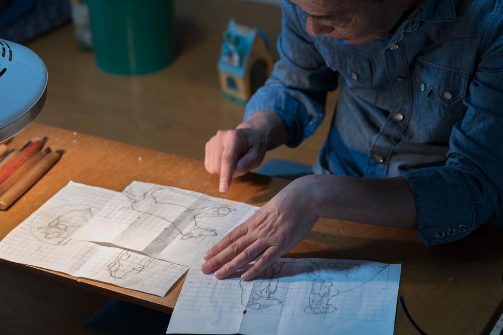 糸島彫刻 生き物係プロジェクト02 スケッチが上がってきました