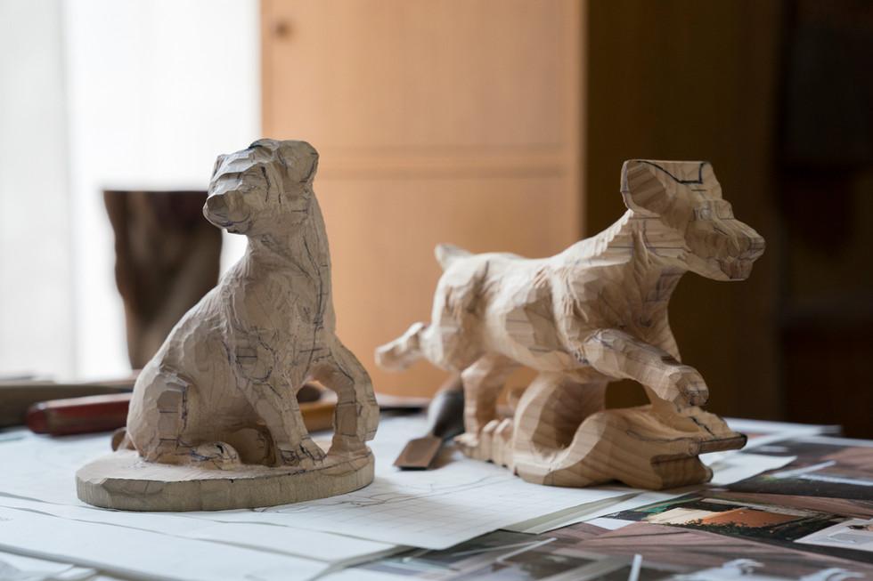 糸島彫刻 生き物係プロジェクト04 粗彫りが進みました