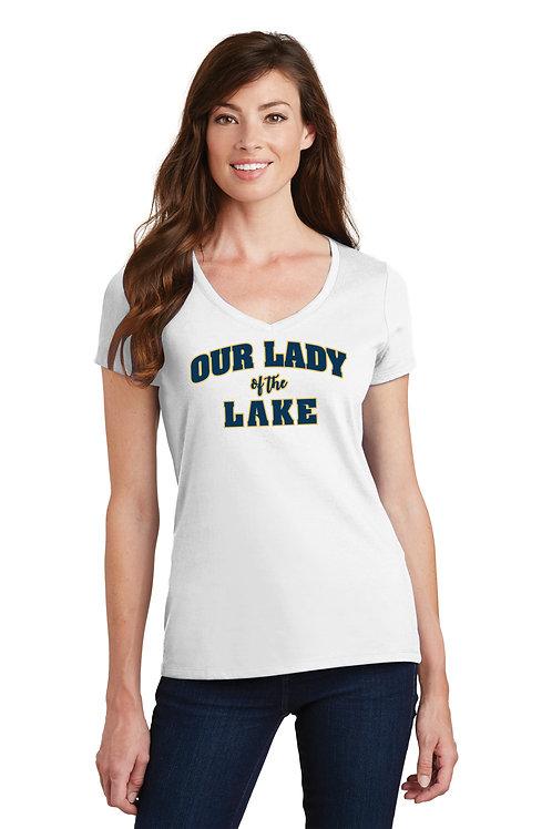 Ladies V-Neck Cotton Tee -White