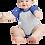 Thumbnail: Infant Baseball Fine Jersey Bodysuit Vintage Heather-Royal