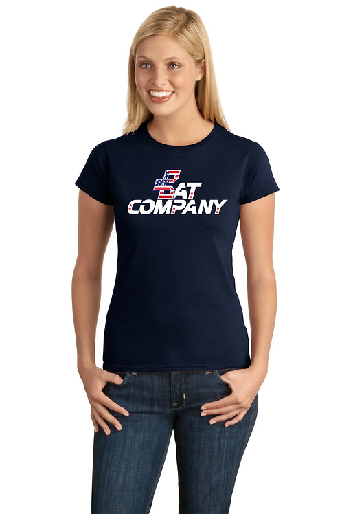 Ladies Bat Company Cotton Tee-Navy