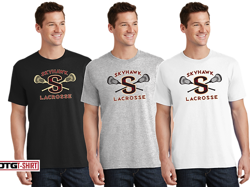 """Men's/Youth 100% Cotton Tee - Skyhawk """"S"""" Lacrosse"""