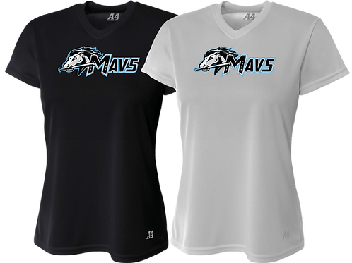 Ladies V-Neck Dry-Fit Tee - Mavs Baseball