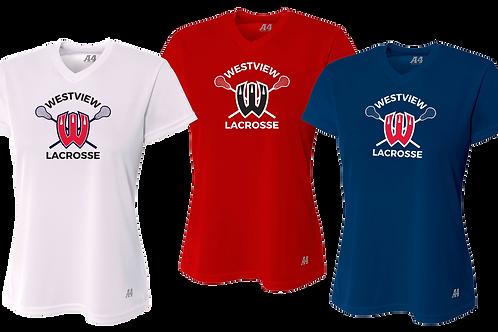 Ladies S/S Dry Fit V-Neck Shirt - Westview Lacrosse