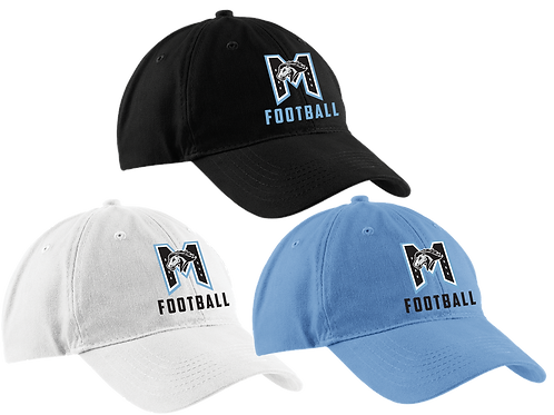 "Unstructured Low Profile Hat - ""M"" Football"