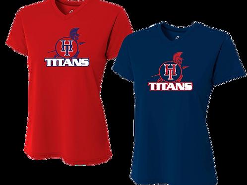 Ladies V-Neck Dry Fit Shirt - Holy Trinity