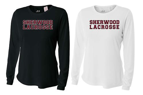Ladies L/S Dry Fit Shirt - Sherwood Lax Font