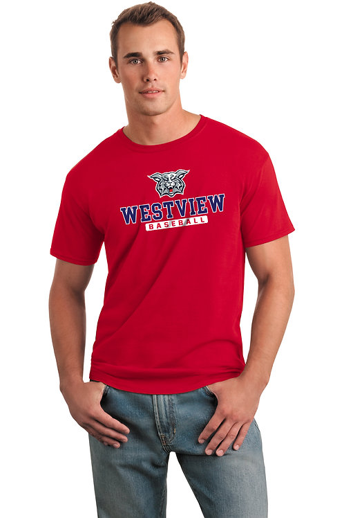 Dry-Fit Tee-Red with Westview Baseball Logo