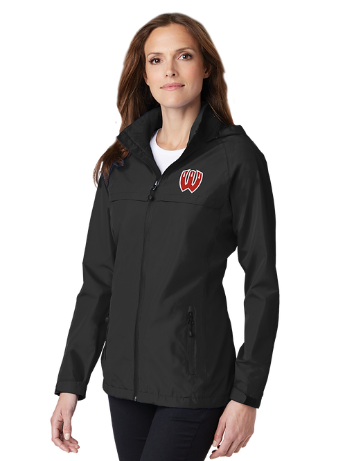 Ladies Waterproof Jacket with Hood - Black-Westview