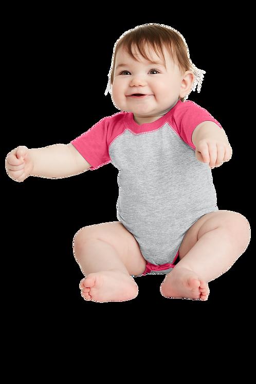 Infant Baseball Fine Jersey Bodysuit Vintage - Hot Pink