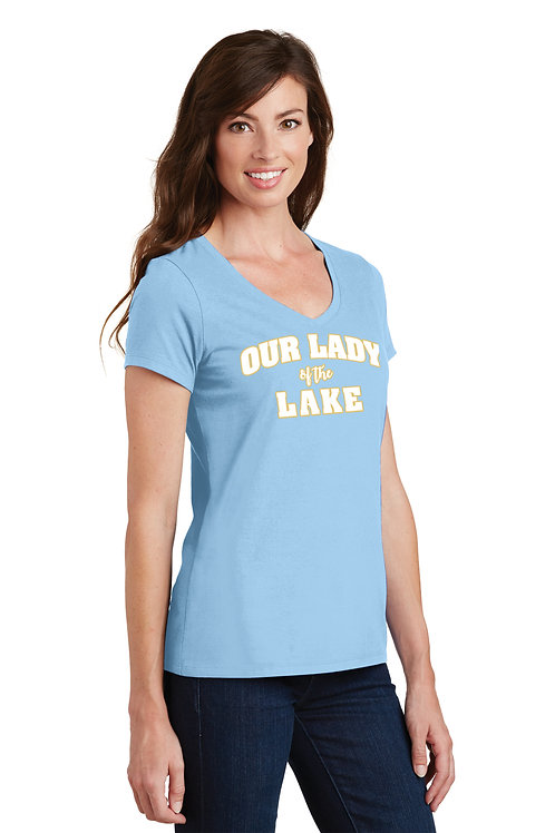 Ladies V-Neck Cotton Tee -Light Blue