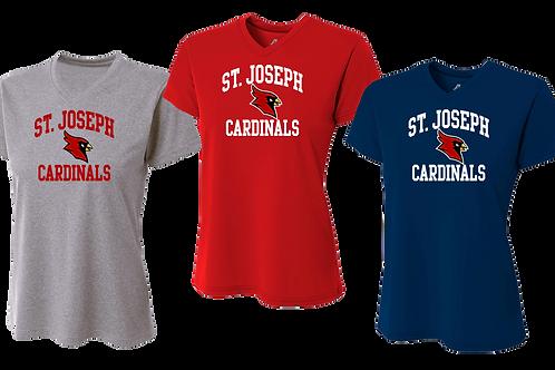 Ladies Dry Fit V-Neck- St. Joes Cardinal Sport Logo