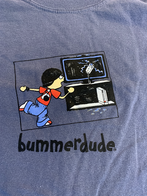 Remote thrown into TV Bummerdude tee (Blue)