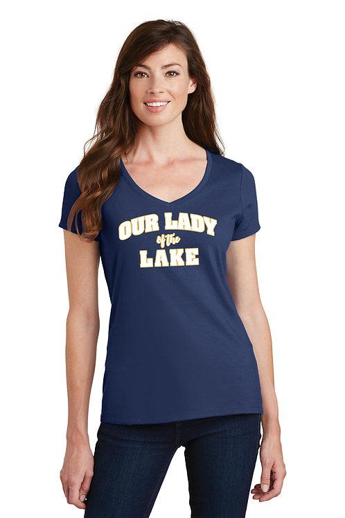 Ladies V-Neck Cotton Tee - Navy