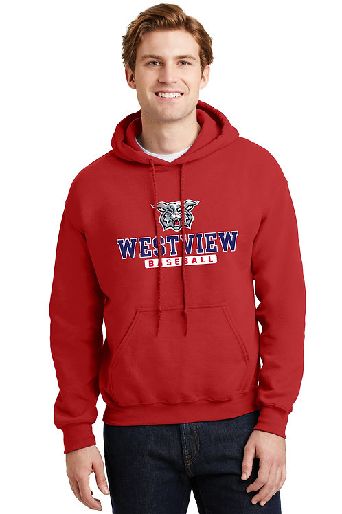 Cotton Hoodie -RED with Westview Baseball Logo