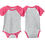 Thumbnail: Infant Baseball Fine Jersey Bodysuit Vintage - Hot Pink